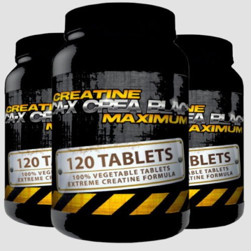 CA-X CREA BLACK MAXIMUM | 3x 120 (360) Tabletten (Vegan) | Creatine Alkaline (Kre-Alkalyn) | Creatine Alkaline optimiert mit Vitamin B6 | Muskelaufbau - Masseaufbau + Kraftsteigerung + Schnellkraft | In GMP & ISO9001 Premium Qualität