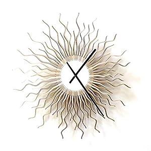 Meduse Silber - 59cm / 98cm zeitgenössische Wanduhr in den Schattierungen von Silber