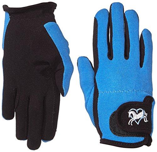 Riders Trend Damen Reiter Handschuhe Reithandschuhe Amara Palm mit Elastan-Material Atmungsaktive, Black/Sky, CL
