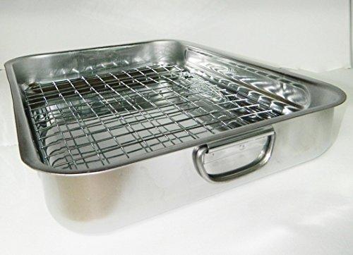 Plat à four avec grille, à rôtir acier inoxydable 36,5cmx28cm collectivité