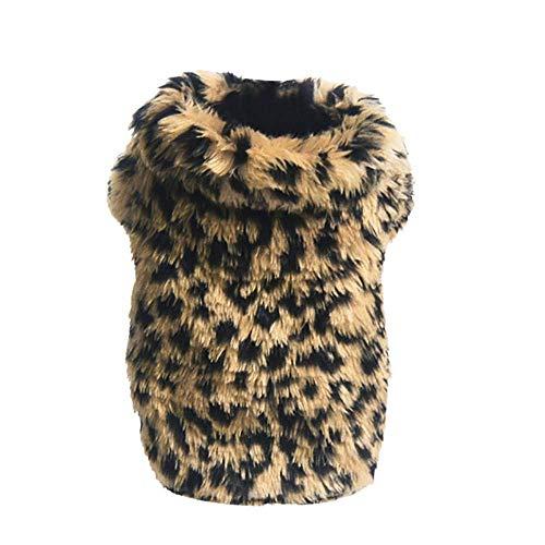 QINCH Home Pet Dogs Leopard Printed Pet Puppy weiche warme Baumwolle Winter Bekleidung Welpen Kostüm Bequeme Kleidung (Color : Brown, Size : XS)
