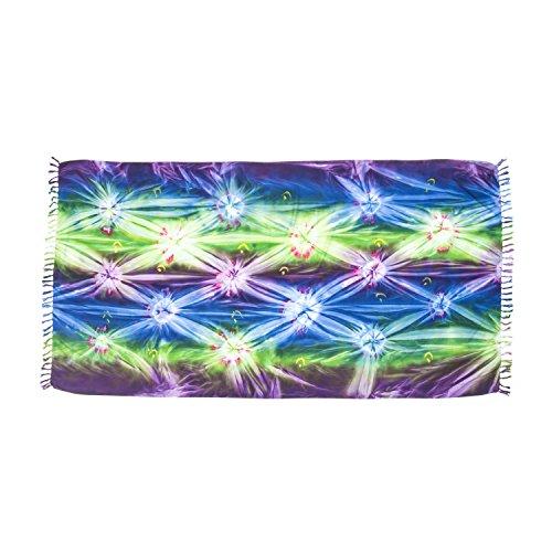 ManuMar Damen Sarong | Pareo Strandtuch | Leichtes Wickeltuch mit Fransen-Quasten (L: 115 x 225 cm, Grün Blau Lila)