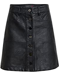 Shelikes Womens Leather Look Front Button Skirt UK 6-14