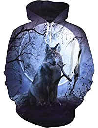 uideazone Personality Mens Wolf Hoodie Pullover Graphic Sweatshirts Hooded With Big Pockets and Fleece Plush Lining