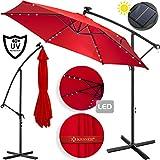Kesser® Alu Ampelschirm LED Solar Ø350cm + Abdeckung mit Kurbelvorrichtung UV-Schutz Aluminium mit An-/Ausschalter Wasserabweisend - Sonnenschirm Schirm Gartenschirm Marktschirm Rot