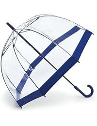 Fulton Birdcage-1 clairement parapluie en forme de dôme avec la marine bordure bleue