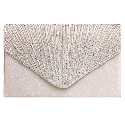 Signore portafoglio-All4you moda donne diamante piega moda classica borsa cena pacchetti Minaudiere (bianco) Beige