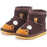 Snugs Boots Kinderstiefel aus Lammfell und Wild-Leder Stiefel für Kinder Jungen und Mädchen Lammfellschuhe, Dunkelbraun, 29