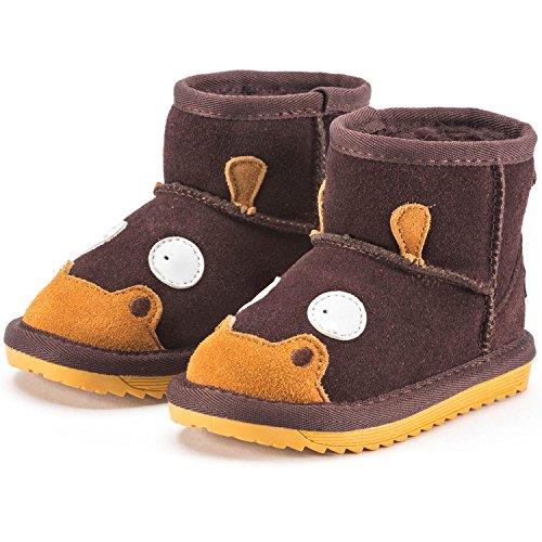 Snugs Boots Kinderstiefel aus Lammfell und Wild-Leder Stiefel für Kinder Jungen und Mädchen Lammfellschuhe, Dunkelbraun, 21