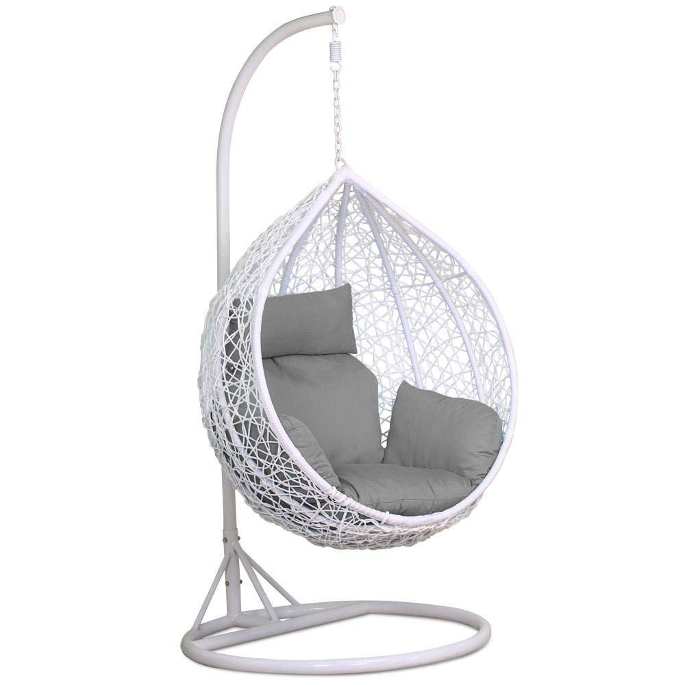 Stunning Outdoor Egg Chair With Stand Cushion White 150kg Capacity