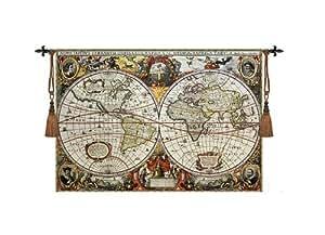 Tapisserie ANCIENNE CARTE MUNDI MEDIEVAL 140 x 97 cm