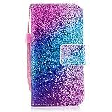 Felfy Kompatibel mit Hülle iPhone SE / 5S / 5 Tasche Leder Magnet Flip Case Schutzhülle Blau Sand PU Leder Flip Tasche Premiu