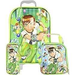 Bazaar Pirates BEN-10 Kids / Children's Trolley Bag With Nursery School Backpack And Pencil Box ( Set Of 3 )