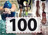 100 Startnummern Triathlon, Papier classic-race, Format 20 x 14,5 cm (ca. DIN A5), nummeriert von Nummer 1