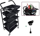 TekNoh 4 - Salon Storage Trolley - (High Gloss Black Finish) - ****with Free Colour Mixing Dye Tint Bowl & Brush**** - Hairdresser Barber Hair Beauty Drawers Spa Cart