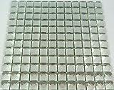 Fliesen Mosaik Mosaikfliese Spiegel Glas Bad Küche WC Glitzer weiß Neu 8mm #453
