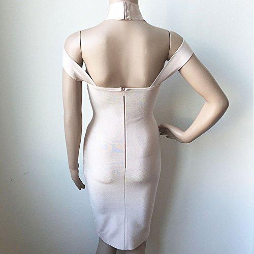 HLBandage Hoher Ansatz Wort Schulter Ausschnitte Rückenfreie Damen Kunstseide Verband-Kleid Beige