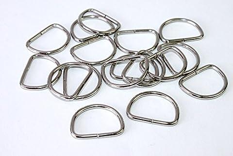 D-Ringe-Halbringe, 10 Stück 20x15x2mm *verchromt* für 20mm Gurt/Band geeignet. (Nähen Ringe)