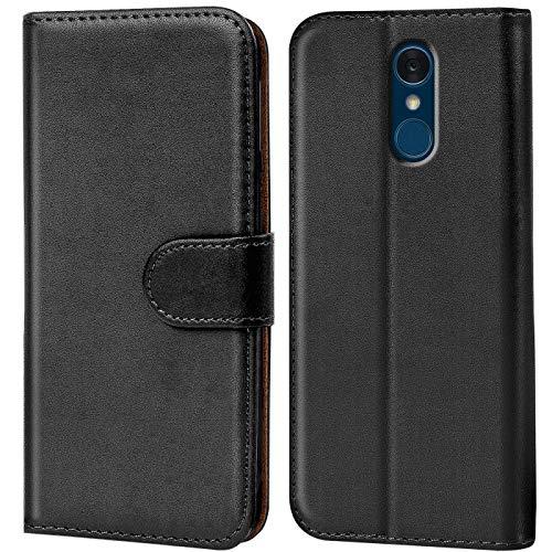 Verco LG Q7 Plus Hülle, Handyhülle für LG Q7+ Tasche PU Leder Flip Case Brieftasche - Schwarz
