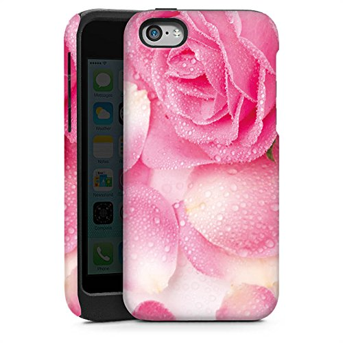 Apple iPhone 5s Housse Étui Protection Coque Rose Feuilles de roses Rose vif Cas Tough brillant