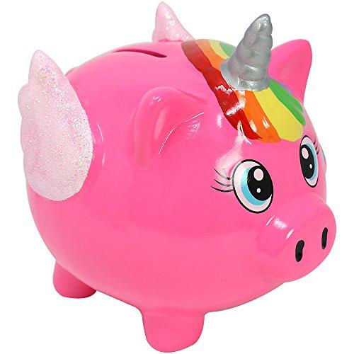 com-four Spardose Schweinhorn aus Keramik im zauberhaften Einhorn Design in pink, Sparschwein, 16 x 15,5 x 13 cm (01 Stück - 16 cm pink)