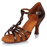 HIPPOSEUS Zapatos de la danza de salón de baile/Zapatos de baile/Zapatos latinos de el cuero mujeres,ESAF42915,Bronce color,EU 37