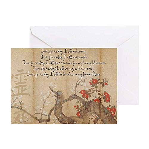 CafePress-Reiki Grundsätze Pflaume Baum groß FRA-Grußkarte, Note Karte, Geburtstagskarte, innen blanko, matt