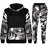 Kids Sports Military Camouflage Hododied Tracksuit 2 piece Contrast (7-8 Years, Armee Schwarz)