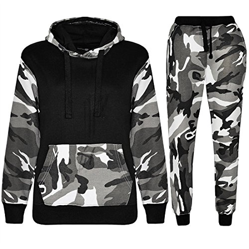 Kids Sports Military Camouflage Hododied Tracksuit 2 piece Contrast (13-14 Years, Armee Schwarz)