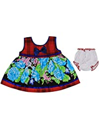 Ole Baby Baby Girl's Chikankari Embroidered Organic Cotton Checks Lace Princess Short Sleeve Frock with Matching Bloomer, 6-12 Months (Multicolour)
