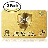 3 Cartes Anti RFID/NFC Protection Carte bancaire sans Contact, 1 Suffit, Fini Les étuis et Pochettes, Le Portefeuille est entièrement protégé, Carte de crédit, Cartes Bleues, CB, Passeport. Cadeau