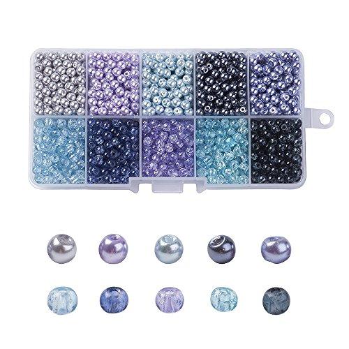 PandaHall 500 Stück 4-4,5mm Glas-Perlen in Verschiedenen Ausführungen farbig rund zum Basteln von selbstgemachtem Schmuck, 4-4,5x 4mm, Loch: 1mm, ca. 50 Stück pro Abteil Colore Misto#8