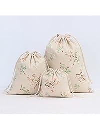 Shopystore M 4Pcs/Lot Linen Storage Bag Flower Printed Drawstring Travel Makeup Storage Make Up Or