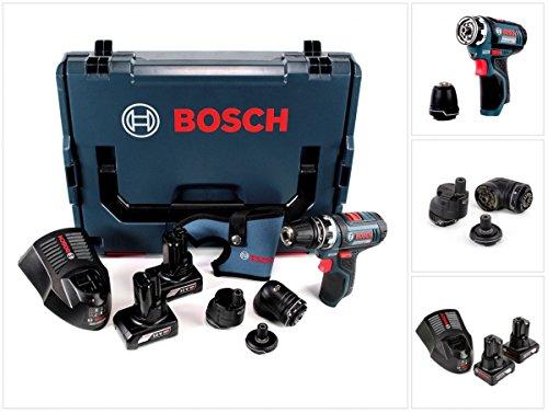 Preisvergleich Produktbild Bosch GSR 12V-15 FC Professional FlexiClick Akku Bohrschrauber mit 2 x 4 Ah Akkus + Lader + 3 tlg. Aufsätze - Set in L-Boxx