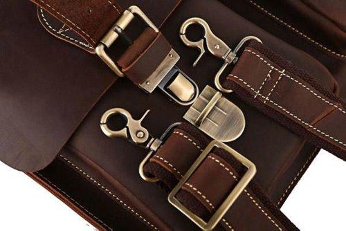 """YAAGLE 100% Verrücktes Pferd HANDMADE Leder Herren Aktentasche Handtasche Messenger Bag Laptoptasche Cowboy, 15,5 """"(39cm) L x 3"""" (7,6 cm) x 11,5 """"(29cm) H, Dunkel Kaffee (Kaffee) (dunkel Kaffee) dunkel Kaffee"""
