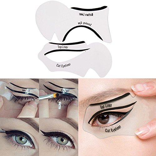 Lover Bar Waterproof 4 in 1 Gel Eyeliner and Eye Brow Powder Kit Brown and Black-Beauty Cosmetics Make Up Long-lasting Shadow Gel Cream Eye Liners with Makeup Brush Set + Cat Shaping Eye Liner Stencil