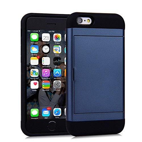 AddGuan iPhone 6/6S Plus Case,Armatura [TPU+PC Layer Doppio Protettivo]Fessura Wallet Carta Credito Antiurto Adatto Per iPhone 6/6S Plus Case (Rosso) Blu