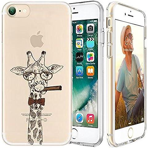 iPhone 7 Custodia,Apple iPhone 7 (4.7 inch) Custodia,Richoose iPhone 7 TPU [Slim Fit] Cancella TPU Gel Della Gomma Custodia Protettiva,Cassa del Respingente Crystal Clear Trasparente Custodia Protettiva per iPhone 7 4.7 inch - Giraffa