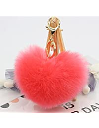 Interesting® suave conejo piel corazón en forma de Pompom Ball encanto coche llavero bolso colgante llavero - melón rojo