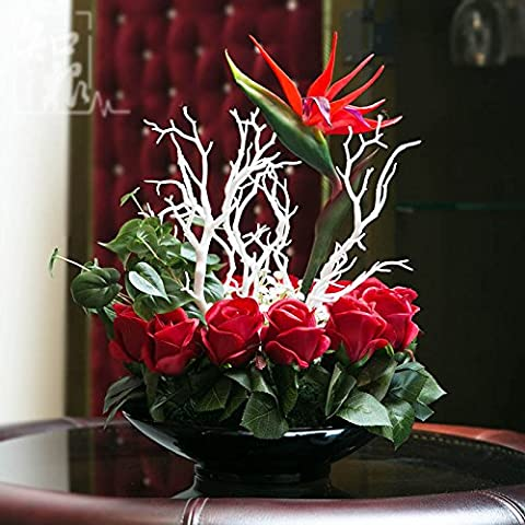 Home Decor ed emulazione fiore rosa degli uccelli del paradiso Suite Sala da Pranzo decorazioni floreali con pezzi di fake trascorrere, rosso