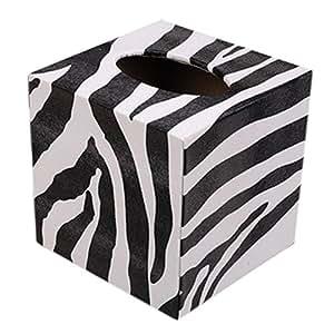 taschentuch box quadratisch eleganter halter seidenpapier zebra streifen muster. Black Bedroom Furniture Sets. Home Design Ideas