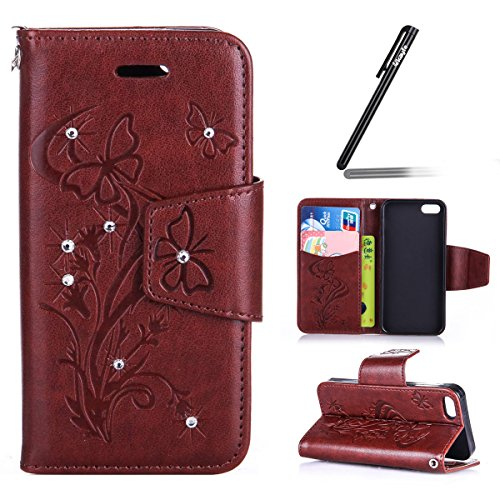 Coque Etui iPhone SE / 5S /5, iPhone SE Cuir Coque Portefeuille Relief Peint Etui avec 9 emplacements pour cartes, iPhone 5S/ 5 Étui en cuir Folio Etui Housse Leather Bookstyle Case Cover, Ukayfe Etui Papillon Diamant-brun