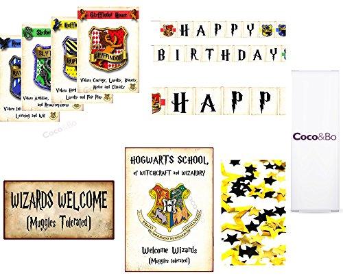 Coco & Bo -Hogwarts-Häuser - Platin Zimmerdekoration Party-Paket - Gryffindor, Slytherin, Hufflepuff und Ravenclaw - magische Zauberer Harry Potter Theme Hogwarts Schule Party Tischdekorationen - Ballone, Willkommen Zauberer, Hogwarts Häuser Szene Zeichen setzen, Konfetti und Happy Birthday Bunting