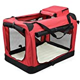 tinkertonk Dog pet Crate Fabric Soft Carrier Kennel Travel Folding Cage Bag (Red, M)