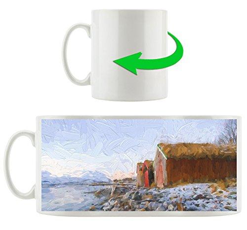 Küste der norwegischen See Tromso Kunst Pinsel Effekt, Motivtasse aus weißem Keramik 300ml, Tolle Geschenkidee zu jedem Anlass. Ihr neuer Lieblingsbecher für Kaffe, Tee und Heißgetränke (Küsten-stil Geschirr)