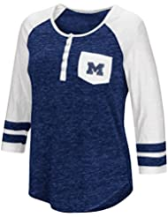 """Michigan Wolverines NCAA Women's """"Inconceivable"""" 3/4 Sleeve Henley Shirt Chemise"""