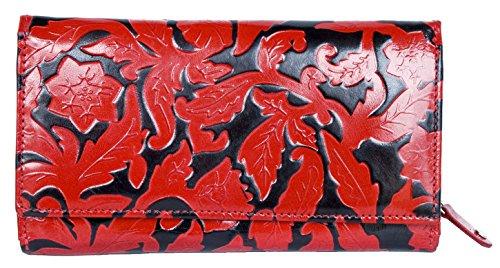 portefeuille-noir-rouge-pour-femme-en-cuir-vritable-enduit-clair-avec-des-feuilles-ornementales-esta