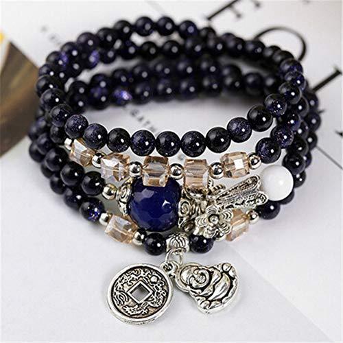 ABDYTE Natürliche Blaue Sandstein Perlen Mit Kupfer Buddha & Münze Anhänger Blume Spacer Multi Kreis Armband Mode Damen Accessoires -