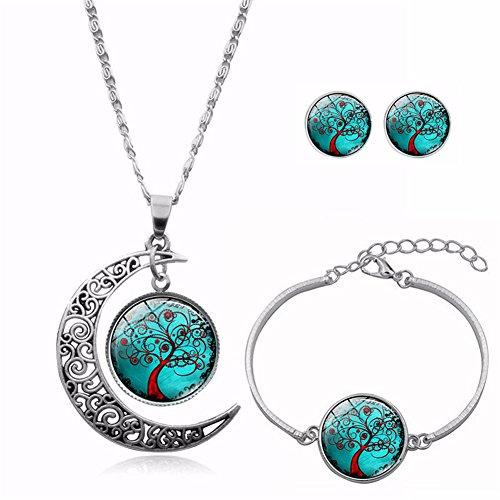 Hlzf Frauen Schmuck Set - Antik Silber Kette Trials von Life Tree Runde Anhänger Halskette Ohrstecker Armband,Green -