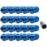 D DOLITY M12 1.25/1.5 Tuercas Pernos de Rueda Neumático Llanta para Coche Automóvil 20 Pedazos (Color Plata/Negro/Rojo/Azul para Selección) - Azul M12 1.25 (35x25mm)